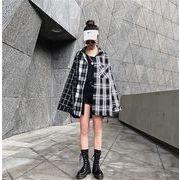 ★最強の新作INS★韓国ファッション 切り替え カジュアル 格子縞 チェック 長袖 シャツ