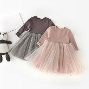 2019年新作★子供服★メッシュ長袖★ワンピース★可愛い★王女スカート