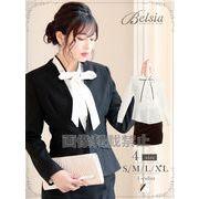 【Belsia】simpleパイピングボウタイリボンブラウス キャバスーツ/フォーマルスーツ*503268