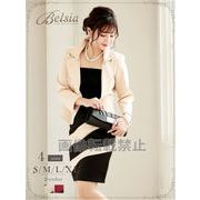 【Belsia】大きいサイズ完備!!艶バイカラー2pセットアップスーツ *502907