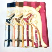 【日本製】【スカーフ】シルクサテンストライプ生地アンリード柄日本製四角大判スカーフ