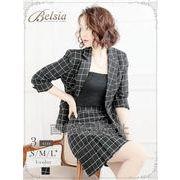 【Belsia】格子柄プリーツスカートセットアップ 七分袖2pキャバクラスーツ(S/M/L)(ブラック)*503681