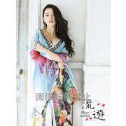 【流遊】妖艶Oriental華柄シフォン着物ドレス 【Ryuyu】高級オリジナル和柄ロングドレス*500003