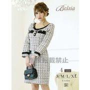 【Belsia】ソフトツイードダークトーン長袖ワンピース 加賀美早紀 着用ドレス