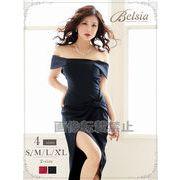 【Belsia】大きいサイズ完備!!大人simpleリボン風ミニドレス *502883