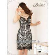 【Belsia】sexy透けメッシュ総レースミニドレス 背中見せノースリーブキャバクラドレス
