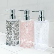 クリア+バラ模様入りの洗面雑貨『クリアローズ』 ディスペンサー