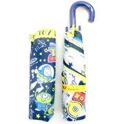 【雨傘】【ジュニア用】【折りたたみ傘】トイストーリースケッチ柄曲がり手付き折傘