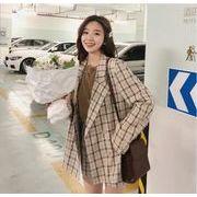 YUNOHAMI 韓国風 セットアップスーツ チェック柄 長袖 小さなスーツ+ ショットパンツ カジュアル 秋冬