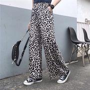 韓国ファッション カジュアル 豹柄 レオパード ロングパンツ ジーンズ パンツ