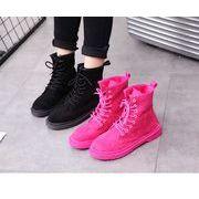全2色 韓国ファッション ショートブーツパー スエード調 太ヒール ショートブーツ靴