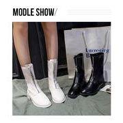 全2色 韓国ファッション ショートブーツ 前ろジッパー スエード調 太ヒール ショートブーツ靴