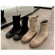 全4色 韓国ファッション ショートブーツパー スエード調 太ヒール ショートブーツ