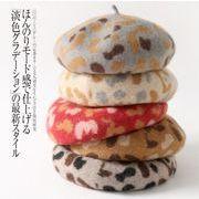 秋冬新作 帽子 ベレー帽 ビンテージ レオパード ウール イギリス風 韓国 ファッション