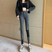 韓国風 新しいデザイン 女性服 何でも似合う ハイウエスト ストレッチ 不規則な フィー