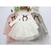 チュール ワンピース ニット 春 秋 女の子 キッズ 2-7歳 子供服 シンプル ファッション