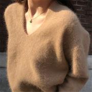 4色いまだけの超SALE価格 新品 減齢 モヘア ゆったりする Vネック 秋冬物 百掛け セーター