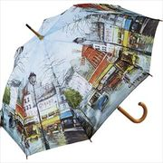 【取り寄せ】名画木製ジャンプ傘【パリストリート】