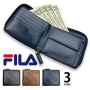全3色 FILA(フィラ)ドットロゴ型押し ラウンドファスナー 2つ折り財布 ショート ウォレット