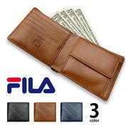 全3色 FILA(フィラ)ドットロゴ型押し 2つ折り財布 ショート ウォレット