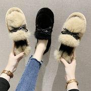 女靴 新しいデザイン 秋 靴 何でも似合う 厚底 ふわふわシューズ リボン 裏起毛 暖か