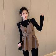 気質 セット 女 新しいデザイン 韓国風 ベストのベスト 長袖 底シャツ ネット レッド