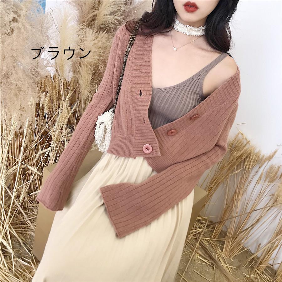 ニットカーディガン ショート丈 韓国ファッション 羽織り