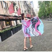 日焼け止めスカーフ 日焼け止めショール 通勤 夏 屋外着 タッセル スカーフ フラミンゴ柄