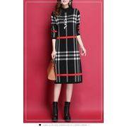 全2色 韓国ファッション 格子縞セーター ワンピース
