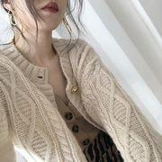 2色 韓国ファッション タートルネックボタンカーディガン セーターアウター 長袖ブラウス