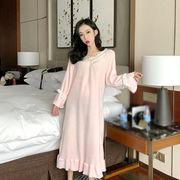 秋冬 新しいデザイン 韓国風 スウィート かわいい ナイトドレス 女 ルース レジャー