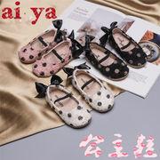 新款★ファッション★水玉シューズ★キッズ靴★リボンシューズ★3色★淑女
