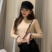 ニット 女 秋 韓国風 新しいデザイン ファッション 着やせ 着やせ フリル 長袖 ヘッ