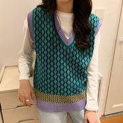 秋 韓国風 新しいデザイン ファッション ヒットカラー 襟 ノースリーブベスト 女 アン