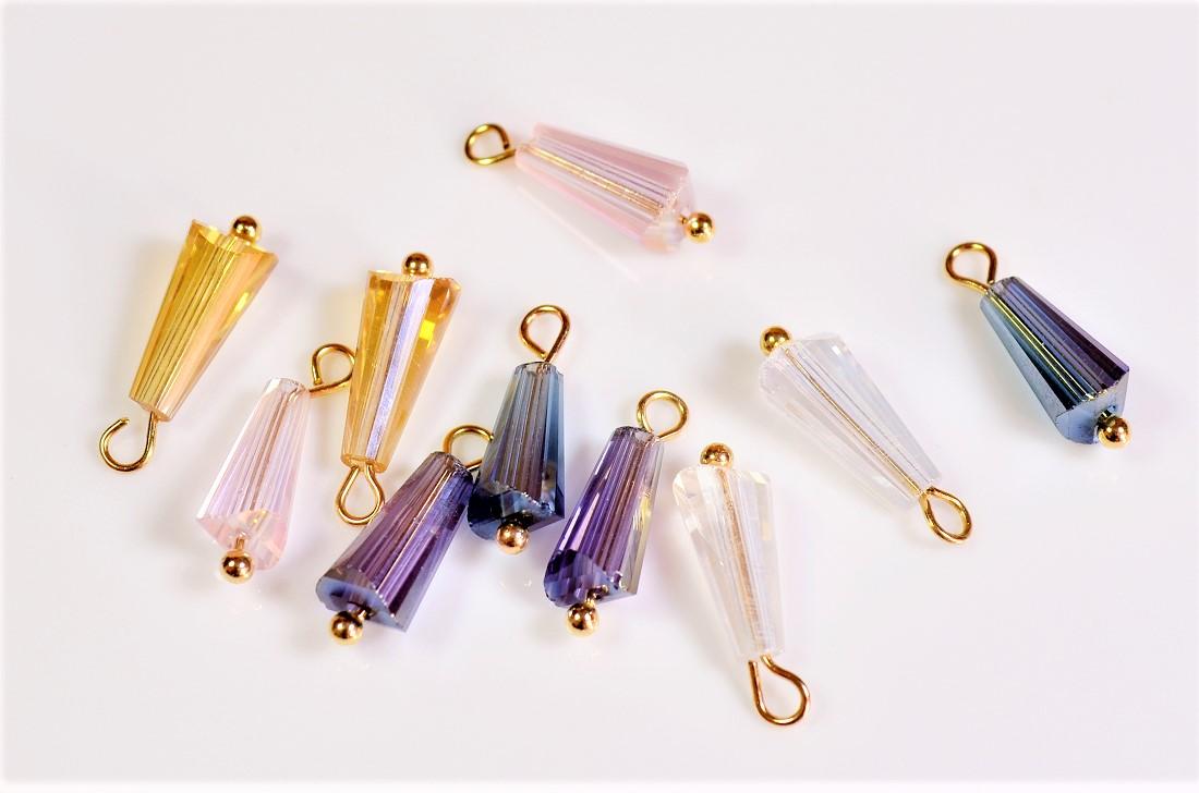 ガラス製台型ビーズ アソートペアセット(丸ピン装着済み) 基礎金具 ガラスストーン
