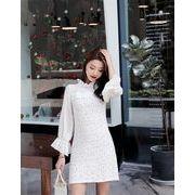 韓国ファッション 春 新着 ワンピース 女性用 レトロ 気質 長袖 スリム ボトミングスカート