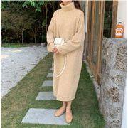 【NEW】タートルネックニットワンピース タートルネック ワンピース ニット ロング 韓国ファッション