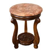 大理石ブラウン猫脚 サイドテーブル&フラワースタンド