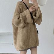 ニットのセーター 女 秋 韓国風 新しいデザイン ファッション ルース 丸襟 スピーカー