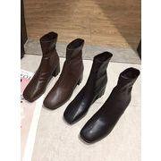スクエアヘッド ブーツ 女 冬 新しいデザイン 太いヒール マーティンブーツ 英国スタイ