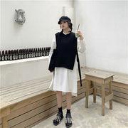 秋 ファッション 気質 ゆったりする 中・長セクション シャツワンピ カジュアル エレガント ベスト