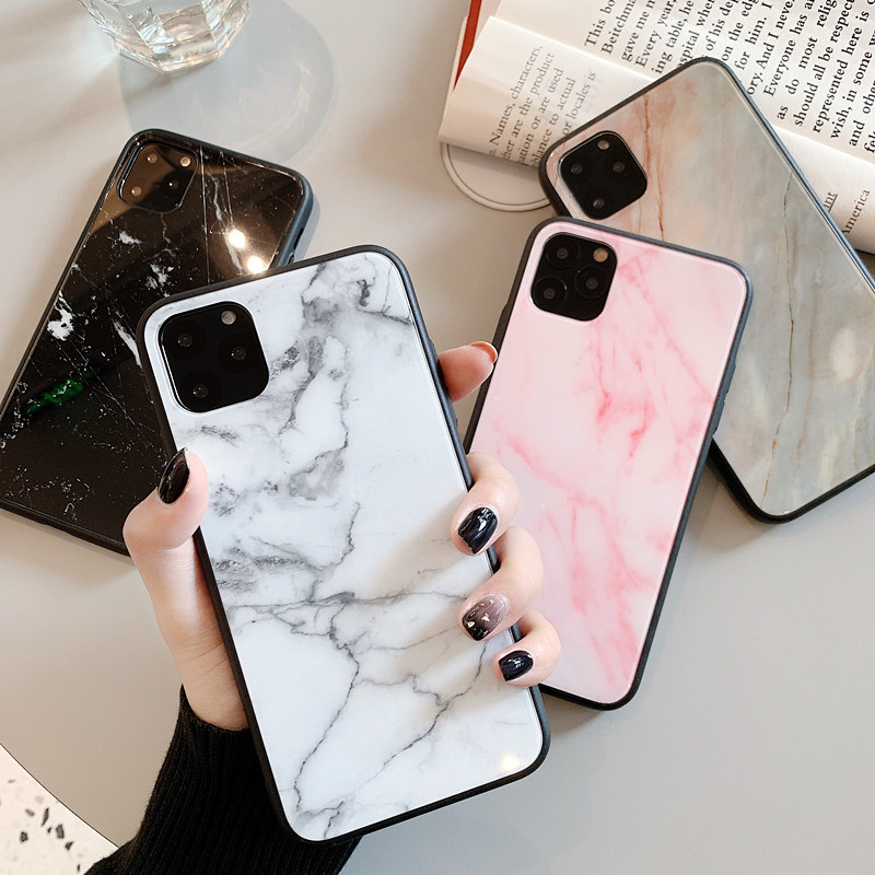 iPhone7/8 iPhone11ケース マーブル柄スマホケース ガラス携帯カバー