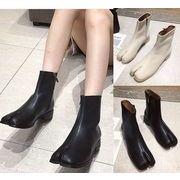 2色韓国ファッション レディーズ ブーツ 切り替え 無地 シンプル カジュアルシューズ 靴