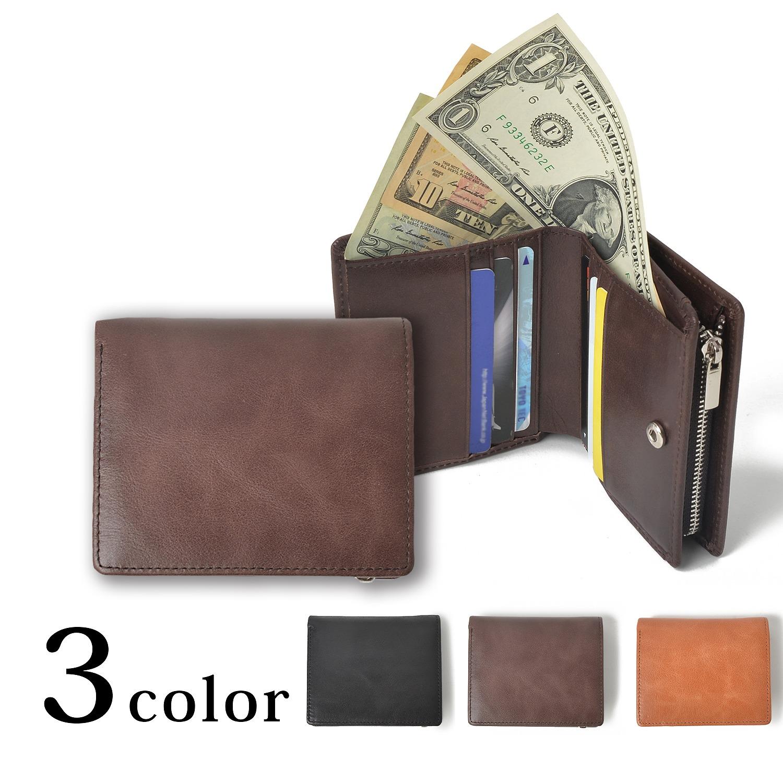 【新作】本革 クラシックレザー 二つ折り コンパクト ミニ 財布 メンズ レディース 小銭入れ