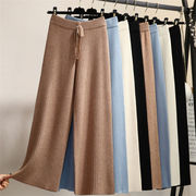 韓国ファッション レディース スリム ニットワイドパンツ