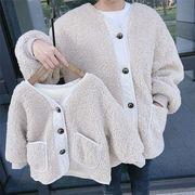 韓国ファッション レディース 親子で着れる もこもこジャケット