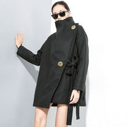 韓国ファッション コート アシメ ブラック