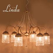 【LED対応 E12/40W水雷型】クリスタルガラス シャンデリア LINDA リンダ(6灯)
