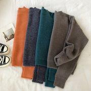 ソフト セミハイ襟 単一色 セーターの女性 冬 新しいデザイン 韓国風 ルース 何でも似