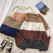 冬服 新しいデザイン 韓国風 ファッション 若くなる 色のストライプをヒット ルース テ